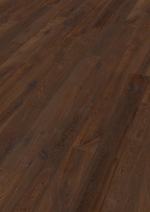 Bywood Plankegulv, Eg, Struktur, Børstet, Mørkebrunt olieret