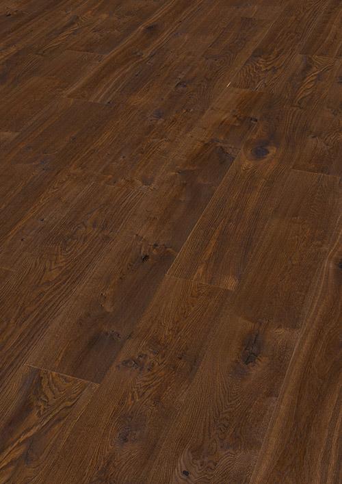 Bywood XL-Plankegulv, Røget eg, Struktur, Håndhøvlet, Mørkebrunt olieret