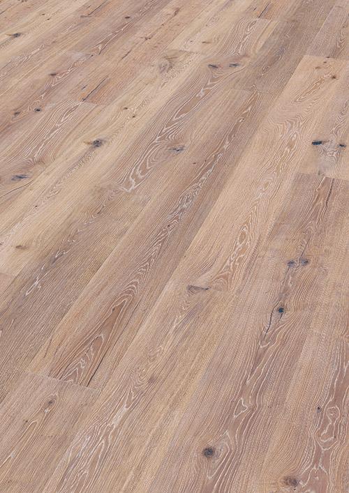Bywood XL-Plankegulv, Eg, Bondehus, Børstet, Hvidvasket, Olieret